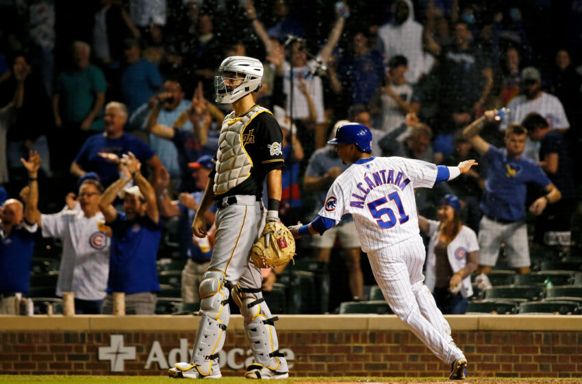 Sep 2, 2021; Chicago, Illinois, USA; (Editors Notes: Caption Correction) Chicago Cubs shortstop Sergio Alcantara (51) celebrates after scoring following a fielding error by Pittsburgh Pirates second baseman Wilmer Difo (not pictured) during the eleventh inning at Wrigley Field. The Chicago Cubs won 6-5 in eleven innings. Mandatory Credit: Jon Durr-USA TODAY Sports