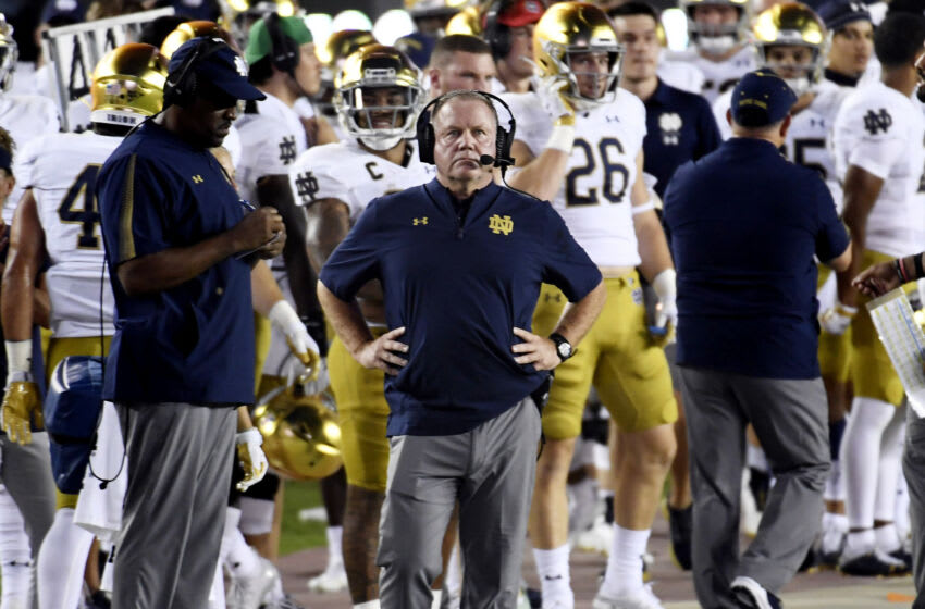 Notre Dame Fighting Irish head coach Brian Kelly during the game against the Florida State Seminoles at Doak S. Campbell Stadium. Mandatory Credit: Melina Myers-USA TODAY Sports