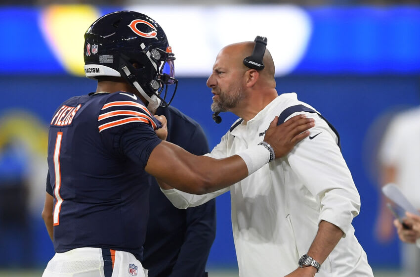 Chicago Bears quarterback Justin Fields and head coach Matt Nagy (Jayne Kamin-Oncea-USA TODAY Sports)