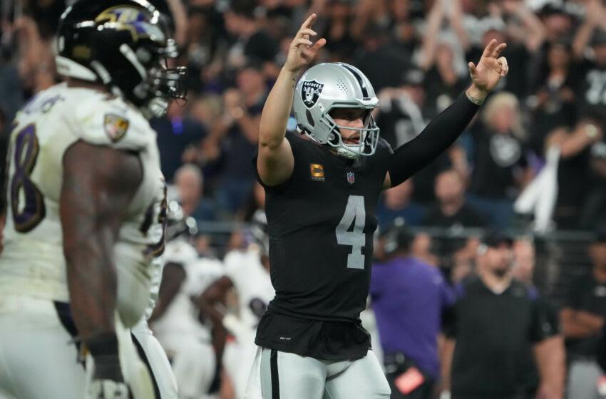 Las Vegas Raiders quarterback Derek Carr against the Baltimore Ravens. (Kirby Lee-USA TODAY Sports)