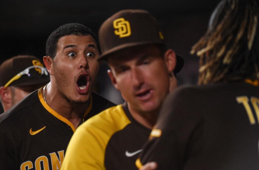 San Diego Padres third baseman Manny Machado and shortstop Fernando Tatis Jr. (Joe Puetz-USA TODAY Sports)