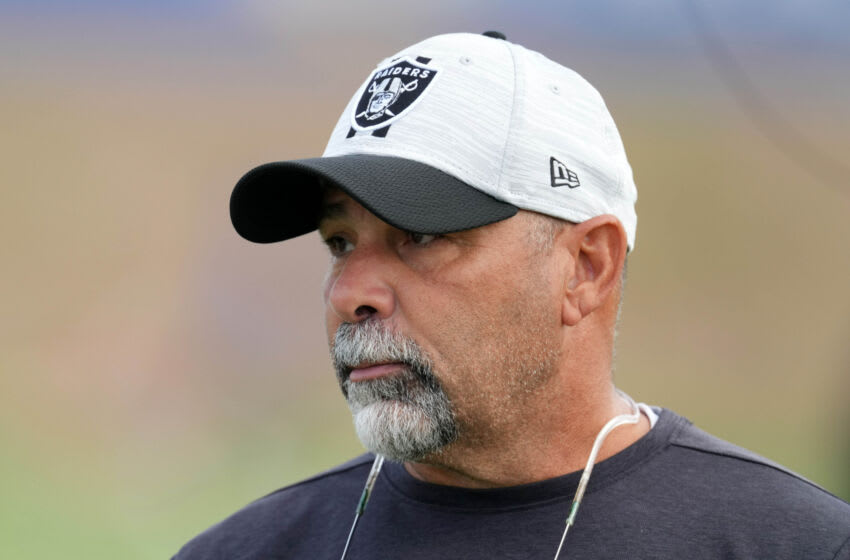 Aug 19, 2021; Thousand Oaks, CA, USA; Las Vegas Raiders special teams coordinator Rich Bisaccia looks on during a joint practice against the Los Angeles Rams. Mandatory Credit: Kirby Lee-USA TODAY Sports