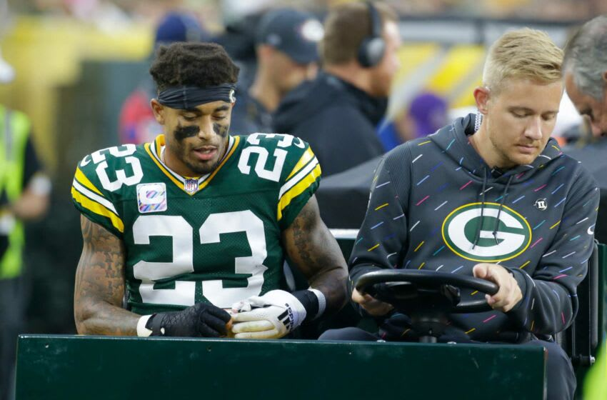 Green Bay Packers cornerback Jaire Alexander (23) is carted off the field after being injured during the third quarter of their game Sunday, October 3, 2021 at Lambeau Field in Green Bay, Wis. Green Bay Packers beat the Pittsburgh Steelers 27-17. Packers04 9
