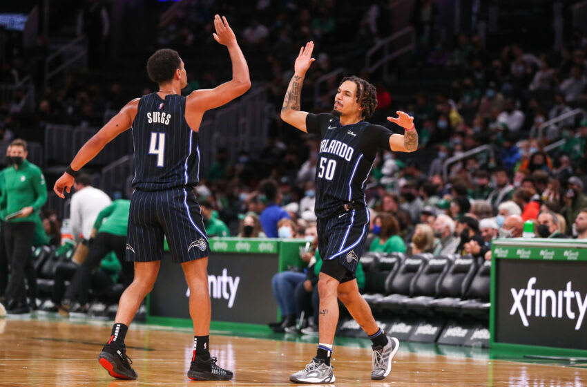 Oct 4, 2021; Boston, Massachusetts, USA; Orlando Magic guard Jalen Suggs (4) and Orlando Magic guard Cole Anthony (50) react during the second half against the Boston Celtics at TD Garden. Mandatory Credit: Paul Rutherford-USA TODAY Sports