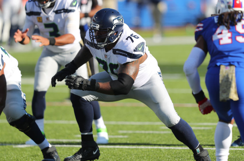ORCHARD PARK, NY - NOVEMBER 08: Duane Brown #76 of the Seattle Seahawks looks to make a block against the Buffalo Bills at Bills Stadium on November 8, 2020 in Orchard Park, New York. (Photo by Timothy T Ludwig/Getty Images)