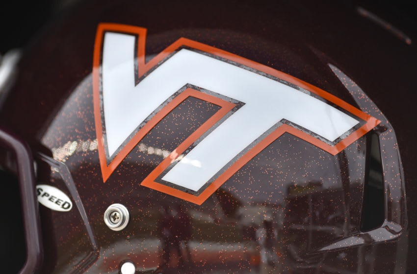 BLACKSBURG, VA - OCTOBER 24: A detailed view of the Virginia Tech Hokies helmet prior to the game against the Duke Blue Devils at Lane Stadium on October 24, 2015 in Blacksburg, Virginia. Duke defeated Virginia Tech 45-43 in quadruple overtime. (Photo by Michael Shroyer/Getty Images)