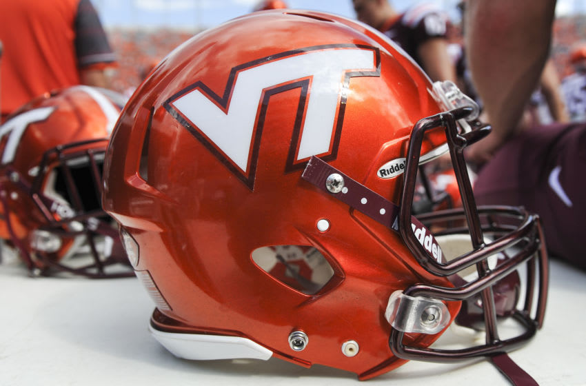 BLACKSBURG, VA - SEPTEMBER 24: A detailed view of the orange helmets worn by the Virginia Tech Hokies against the East Carolina Pirates at Lane Stadium on September 24, 2016 in Blacksburg, Virginia. Virginia Tech defeated East Carolina 54-17 (Photo by Michael Shroyer/Getty Images) *** Local Caption ***