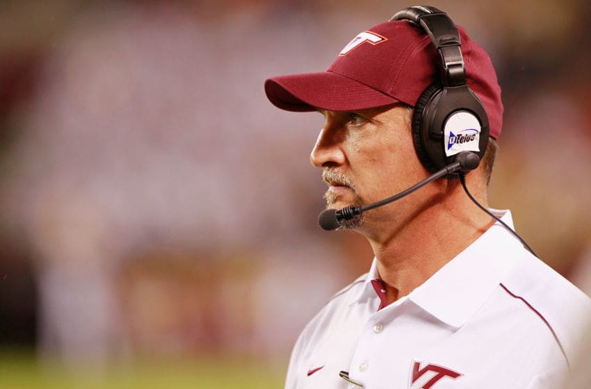 BLACKSBURG, VA - SEPTEMBER 03: Defensive coordinator Bud Foster of the Virginia Tech Hokies watches from the sidelines against the Georgia Tech Yellow Jackets at Lane Stadium on September 3, 2012 in Blacksburg, Virginia. (Photo by Geoff Burke/Getty Images)