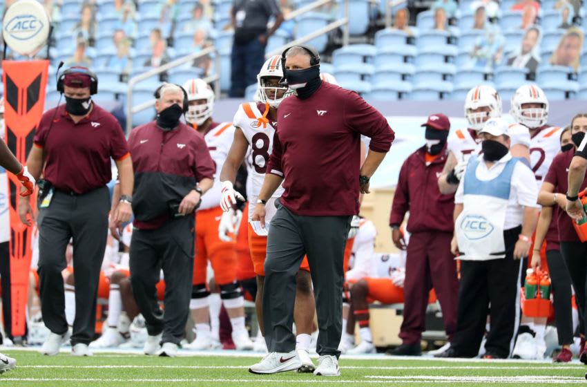 CHAPEL HILL, NC - OCTOBER 10: Head coach Justin Fuente of Virginia Tech during a game between Virginia Tech and North Carolina at Kenan Memorial Stadium on October 10, 2020 in Chapel Hill, North Carolina. (Photo by Andy Mead/ISI Photos/Getty Images)