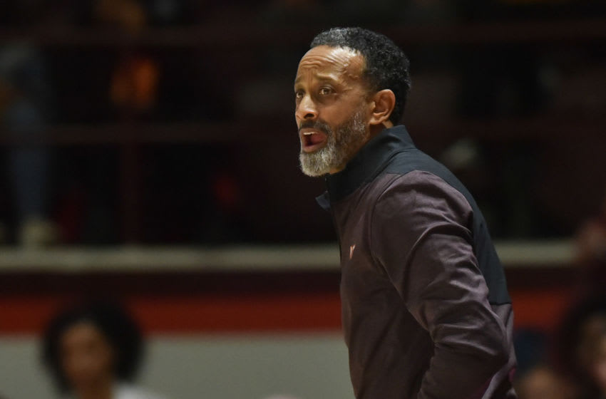 Jan 16, 2019; Blacksburg, VA, USA; Virginia Tech Hokies head coach Kenny Brooks looks on during the game against the Notre Dame Fighting Irish in the second half at Cassell Coliseum. Mandatory Credit: Michael Shroyer-USA TODAY Sports
