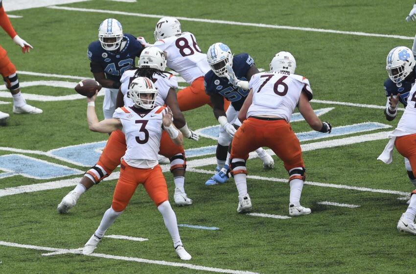Oct 10, 2020; Chapel Hill, North Carolina, USA; Virginia Tech Hokies quarterback Braxton Burmeister (3) looks to pass in the first quarter at Kenan Memorial Stadium. Mandatory Credit: Bob Donnan-USA TODAY Sports