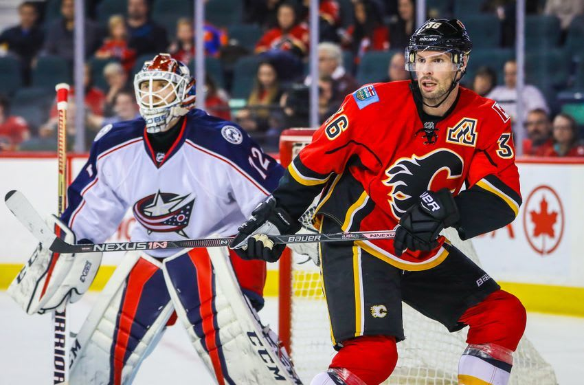 Dec 16, 2016; Calgary, Alberta, CAN; Calgary Flames right wing Troy Brouwer (36) screens in front of Columbus Blue Jackets goalie Sergei Bobrovsky (72) during the third period at Scotiabank Saddledome. Columbus Blue Jackets won 4-1. Mandatory Credit: Sergei Belski-USA TODAY Sports