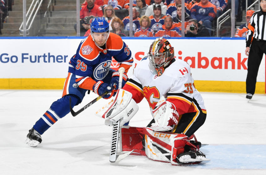 EDMONTON, AB - DECEMBER 9: Alex Chiasson #39 of the Edmonton Oilers takes a shot on David Rittich #33 of the Calgary Flames on December 9, 2018 at Rogers Place in Edmonton, Alberta, Canada. (Photo by Andy Devlin/NHLI via Getty Images)