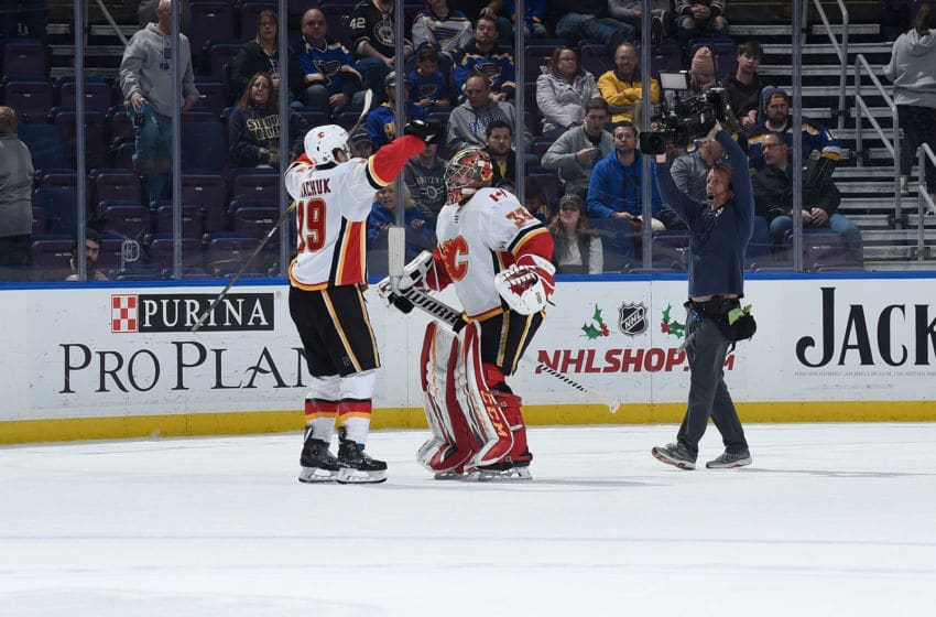 ST. LOUIS, MO - DECEMBER 16: Matthew Tkachuk #19 of the Calgary Flames and David Rittich #33 of the Calgary Flames react after beating the St. Louis Blues 7-2 at Enterprise Center on December 16, 2018 in St. Louis, Missouri. (Photo by Joe Puetz/NHLI via Getty Images)