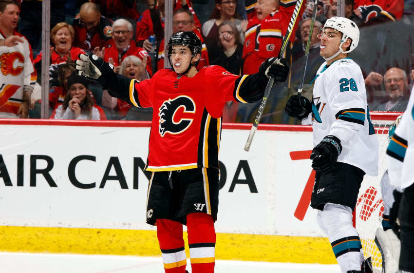 CALGARY, AB - DECEMBER 31: Johnny Gaudreau #13 of the Calgary Flames celebrates a goal against the San Jose Sharks during an NHL game on December 31, 2018 at the Scotiabank Saddledome in Calgary, Alberta, Canada. (Photo by Gerry Thomas/NHLI via Getty Images)
