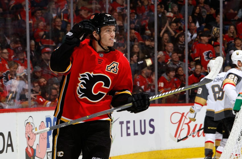 CALGARY, AB - MARCH 10: Matthew Tkachuk #19 of the Calgary Flames skates against the Vegas Golden Knights during an NHL game on March 10, 2019 at the Scotiabank Saddledome in Calgary, Alberta, Canada. (Photo by Gerry Thomas/NHLI via Getty Images)