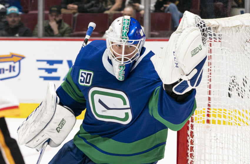 VANCOUVER, BC - FEBRUARY 08: Goalie Jacob Markstrom (Photo by Rich Lam/Getty Images)
