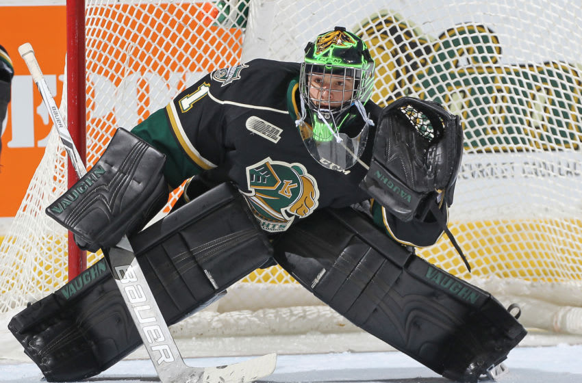LONDON, ON - FEBRUARY 3: Tyler Parsons #1 of the London Knights gets set to face a shot against the Owen Sound Attack during an OHL game at Budweiser Gardens on February 3, 2017 in London, Ontario, Canada. The Knights defeated the Attack 4-0. (Photo by Claus Andersen/Getty Images)