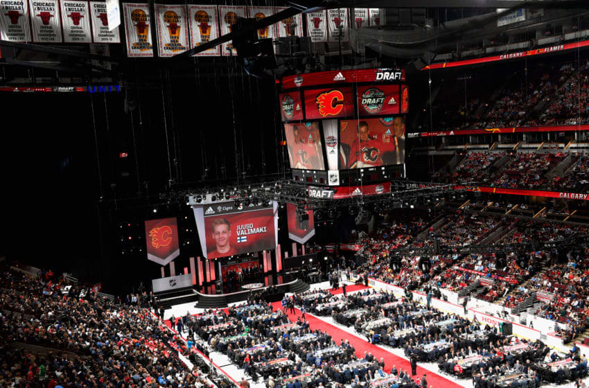 CHICAGO, IL - JUNE 23: An overhead view of the draft floor during Round One of the 2017 NHL Draft at United Center on June 23, 2017 in Chicago, Illinois. (Photo by Bill Smith/NHLI via Getty Images)