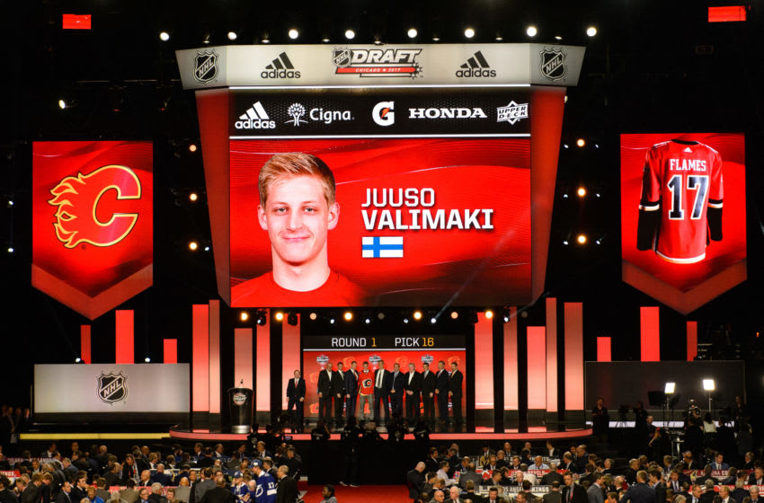 CHICAGO, IL - JUNE 23: The Calgary Flames select defenseman Juuso Valimaki with the 16th pick in the first round of the 2017 NHL Draft on June 23, 2017, at the United Center in Chicago, IL. (Photo by Daniel Bartel/Icon Sportswire via Getty Images)