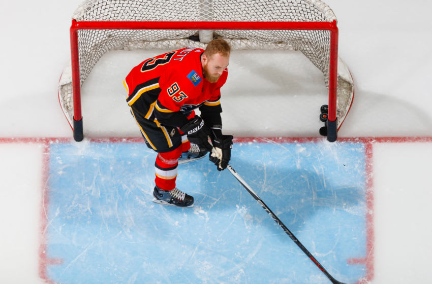 CALGARY, AB - MARCH 21: Sam Bennett #93 of the Calgary Flames at warm up in an NHL game on March 21, 2018 at the Scotiabank Saddledome in Calgary, Alberta, Canada. (Photo by Gerry Thomas/NHLI via Getty Images)