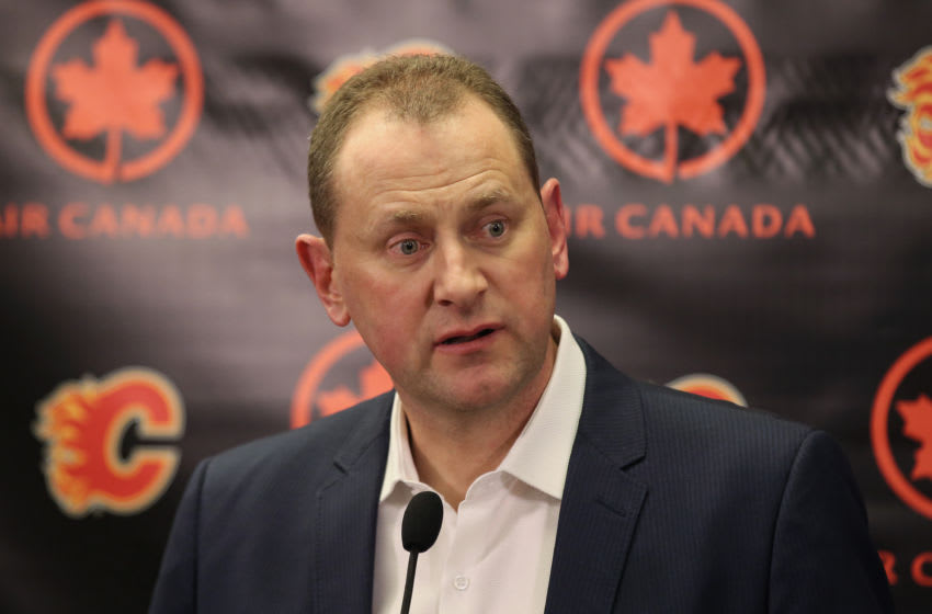 CALGARY, CANADA - FEBRUARY 27: General manager Brad Treliving.(Photo by Tom Szczerbowski/Getty Images)