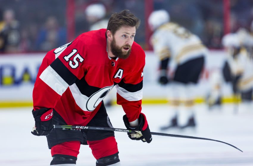 OTTAWA, ON - JANUARY 25: Ottawa Senators Left Wing Zack Smith (15) takes a moement during warm-up before National Hockey League action between the Boston Bruins and Ottawa Senators on January 25, 2018, at Canadian Tire Centre in Ottawa, ON, Canada. (Photo by Richard A. Whittaker/Icon Sportswire via Getty Images)