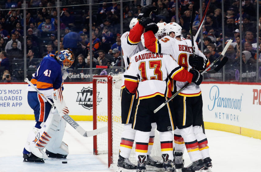 NEW YORK, NY - FEBRUARY 11: The Calgary Flames celebrate a second-period goal by Mark Jankowski