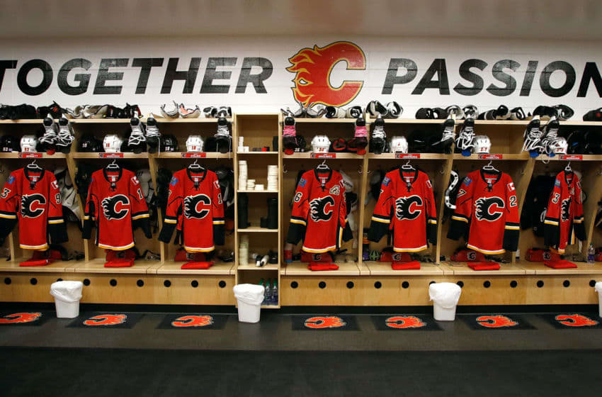 CALGARY, AB - OCTOBER 30: The Calgary Flames locker room sits ready before an NHL game against the Washington Capitals on October 30, 2016 at the Scotiabank Saddledome in Calgary, Alberta, Canada. (Photo by Brad Watson/NHLI via Getty Images)