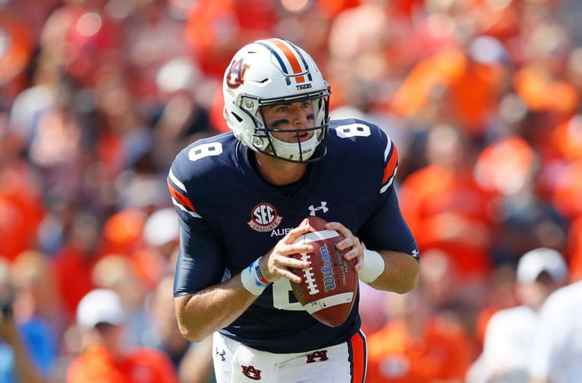 Jarrett Stidham has thrown for less than 200 yards in back-to-back games. (Photo by Kevin C. Cox/Getty Images)