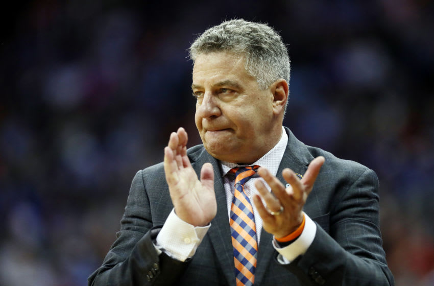 KANSAS CITY, MISSOURI - MARCH 29: Head coach Bruce Pearl of the Auburn Tigers reacts against the North Carolina Tar Heels during the 2019 NCAA Basketball Tournament Midwest Regional at Sprint Center on March 29, 2019 in Kansas City, Missouri. (Photo by Jamie Squire/Getty Images)