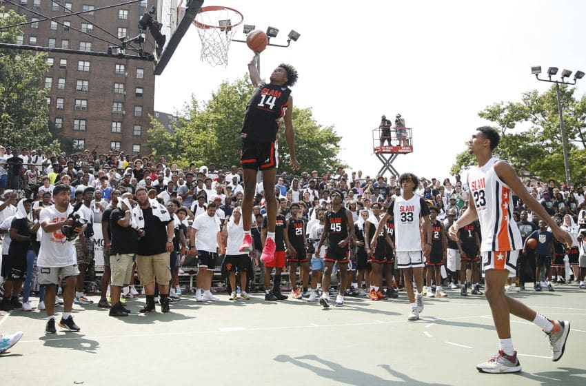 NEW YORK, NEW YORK - AUGUST 18: Jalen Green #14 of Team Zion dunks against Team Jimma during the SLAM Summer Classic 2019 at Dyckman Park on August 18, 2019 in New York City. (Photo by Michael Reaves/Getty Images)