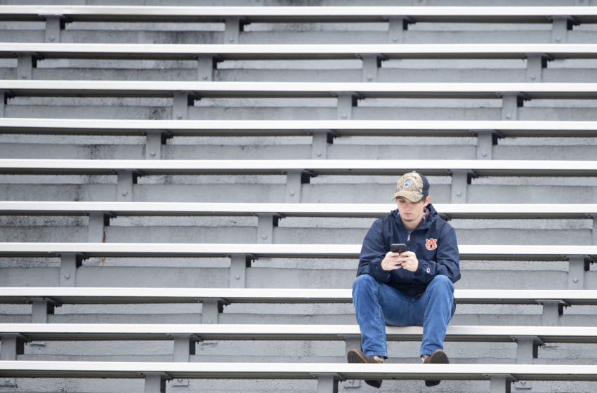 An Auburn Tigers fan in the stands (Photo by Michael Chang/Getty Images)
