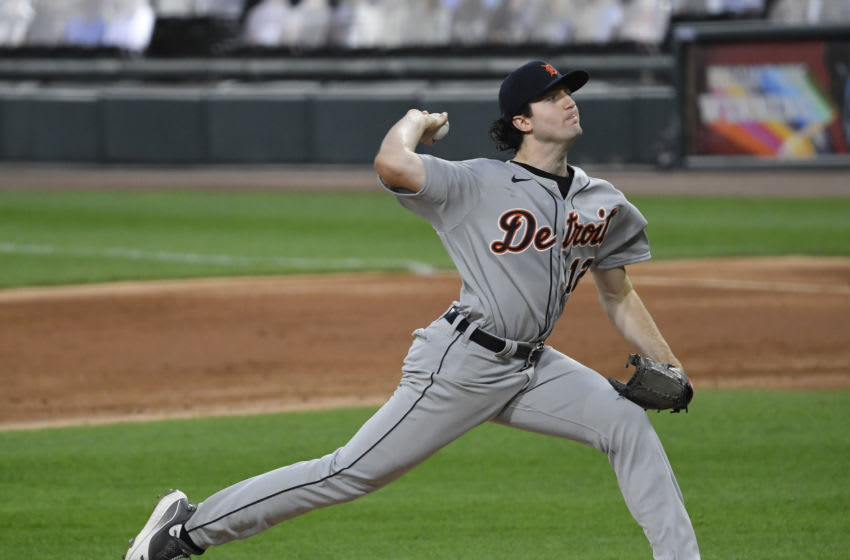 CHICAGO, ILLINOIS - AUGUST 19: Starting pitcher Casey Mize #12 of the Detroit Tigers during his MLB debut against the Chicago White Sox at Guaranteed Rate Field on August 19, 2020 in Chicago, Illinois. (Photo by Quinn Harris/Getty Images)