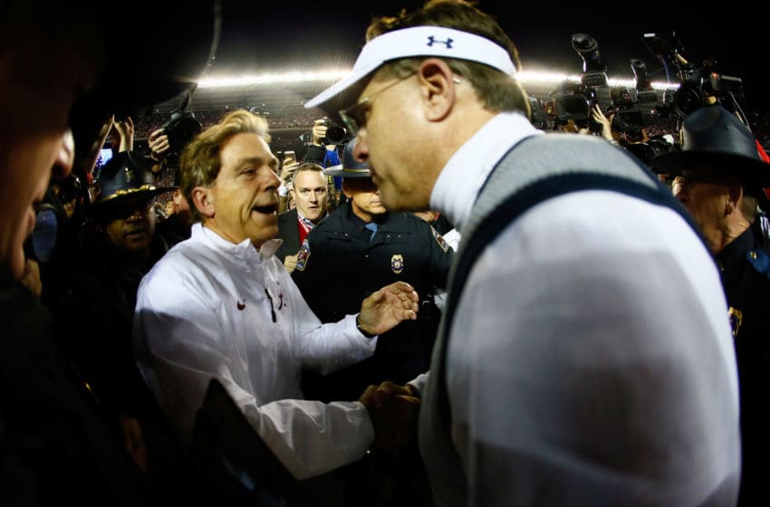 Gus Malzahn and Nick Saban shake hands after a recent Iron Bowl. (Photo by Kevin C. Cox/Getty Images)