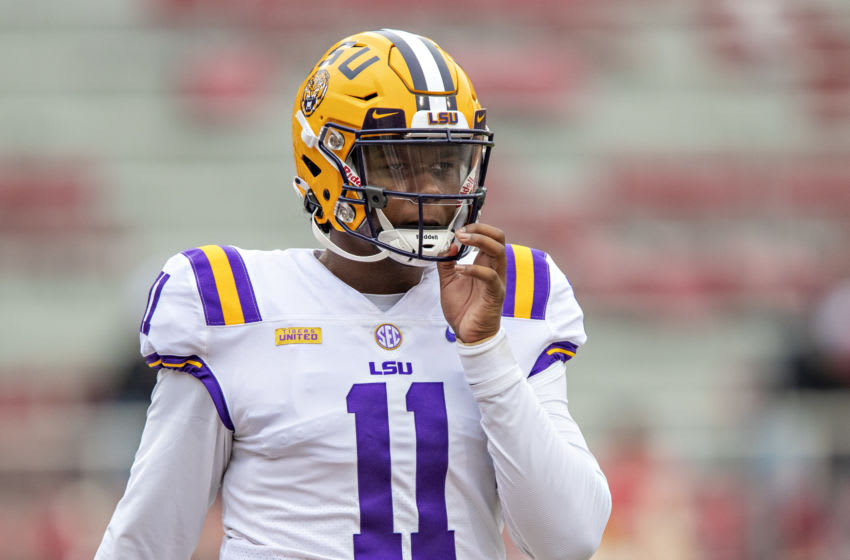 FAYETTEVILLE, AR - NOVEMBER 21: TJ Finley #11 of the LSU Tigers warms up before a game against the Arkansas Razorbacks at Razorback Stadium on November 21, 2020 in Fayetteville, Arkansas. The Tigers defeated the Razorbacks 27-24. (Photo by Wesley Hitt/Getty Images)