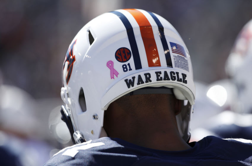 AUBURN, AL - OCTOBER 13: Detailed view of Auburn Tigers helmet and War Eagle during the game against the Tennessee Volunteers at Jordan Hare Stadium on October 13, 2018 in Auburn, Alabama. (Photo by Joe Robbins/Getty Images)