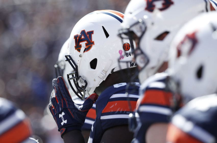 Detailed view of Auburn Tigers helmets (Photo by Joe Robbins/Getty Images)