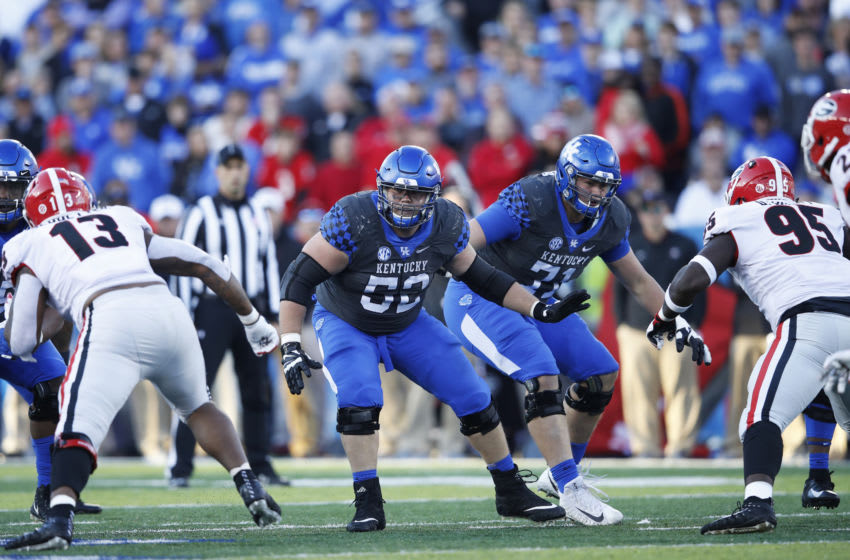 LEXINGTON, KY - NOVEMBER 03: Drake Jackson #52 of the Kentucky Wildcats in action during the game against the Georgia Bulldogs at Kroger Field on November 3, 2018 in Lexington, Kentucky. Georgia won 34-17. (Photo by Joe Robbins/Getty Images)