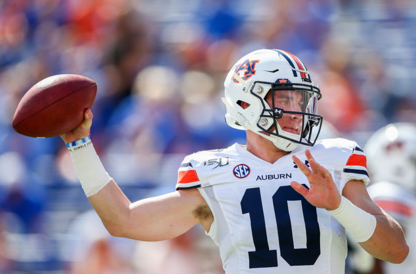 GAINESVILLE, FLORIDA - OCTOBER 05: Bo Nix #10 of the Auburn Tigers warms up before the start of a game against the Florida Gators at Ben Hill Griffin Stadium on October 05, 2019 in Gainesville, Florida. (Photo by James Gilbert/Getty Images)