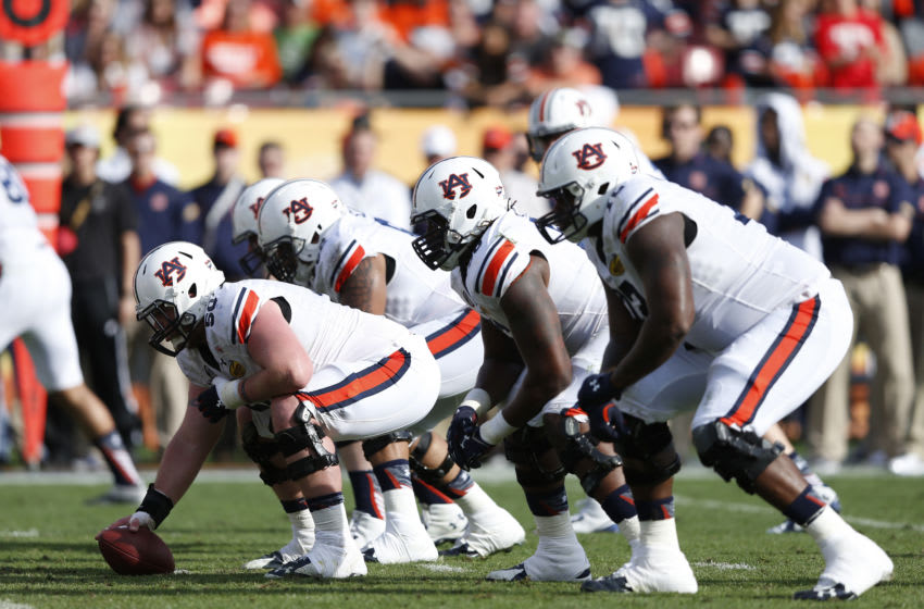 Auburn Tigers offensive line (Photo by Joe Robbins/Getty Images)