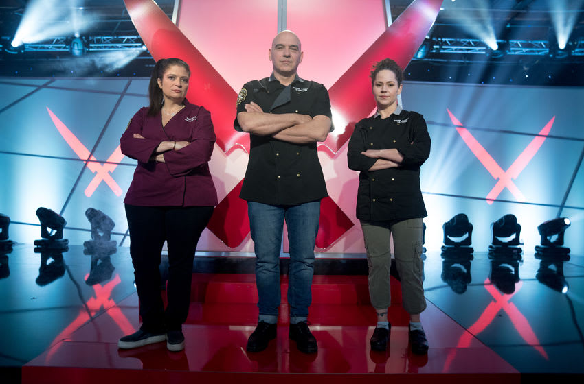 Iron Chefs Stephanie Izard, Michael Symon and Alex Guarnaschelli, as seen on Iron Chef Gauntlet, Season 2. photo provided by Food Network