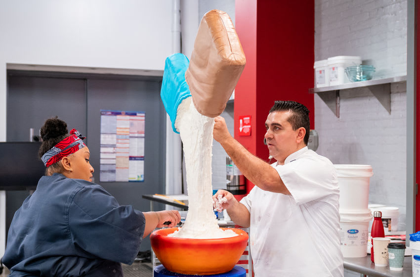 Team Buddy featuring Jessica Bacchus and Buddy Valastro, as seen on Buddy vs Duff, Season 2. Photo Courtesy Food Network