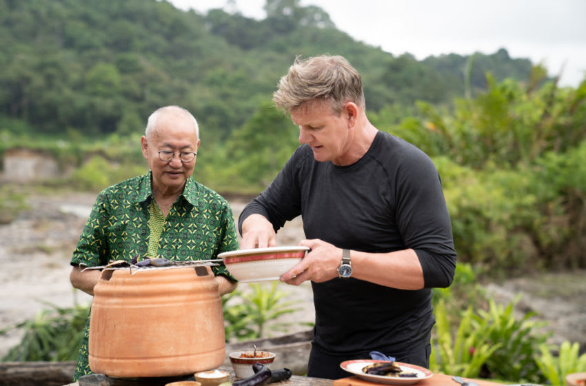 West Sumatra, Indonesia - Chef William Wongso (L) and Gordon Ramsay during the big cook. (Credit: National Geographic/Justin Mandel)