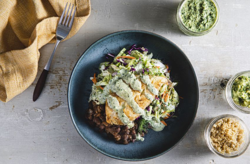 The TB12 Method: How to Do What You Love, Better and for Longer adds new recipes: Fish Taco Bowl. Credit Jayna Cowal, photo provided by TB12 Method