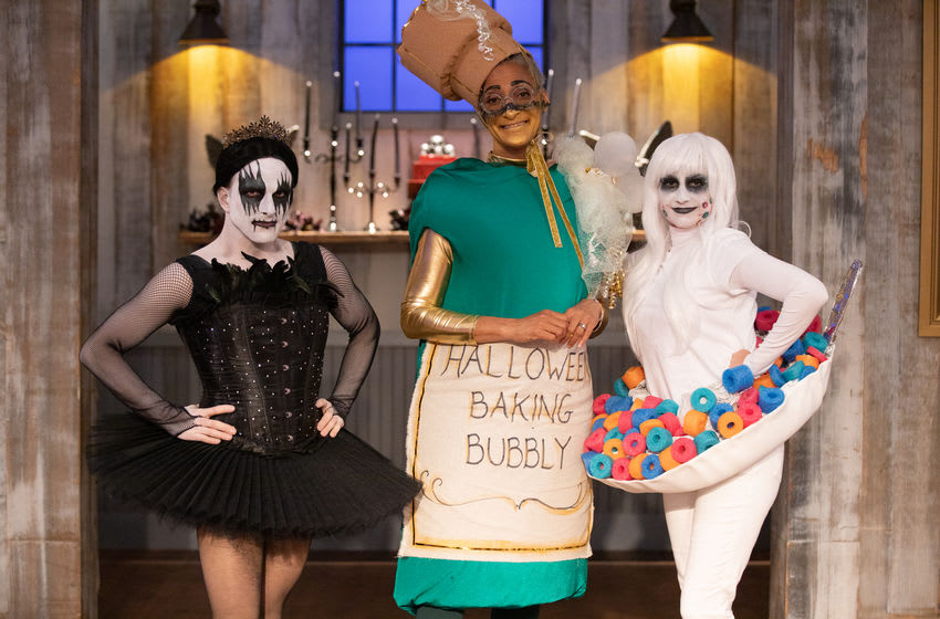Judges Zak Young, Carla Hall and Stephanie Boswell, as seen on Halloween Baking Championship, Season 6. Photo provided by Food Network