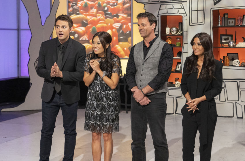 Left to Right: host Jonathan Bennet, judges Shinmin Li and Todd Tucker, and special guest judge Marisol Nichols, during judging of Episode 5 and finale Spine Chiller challenge