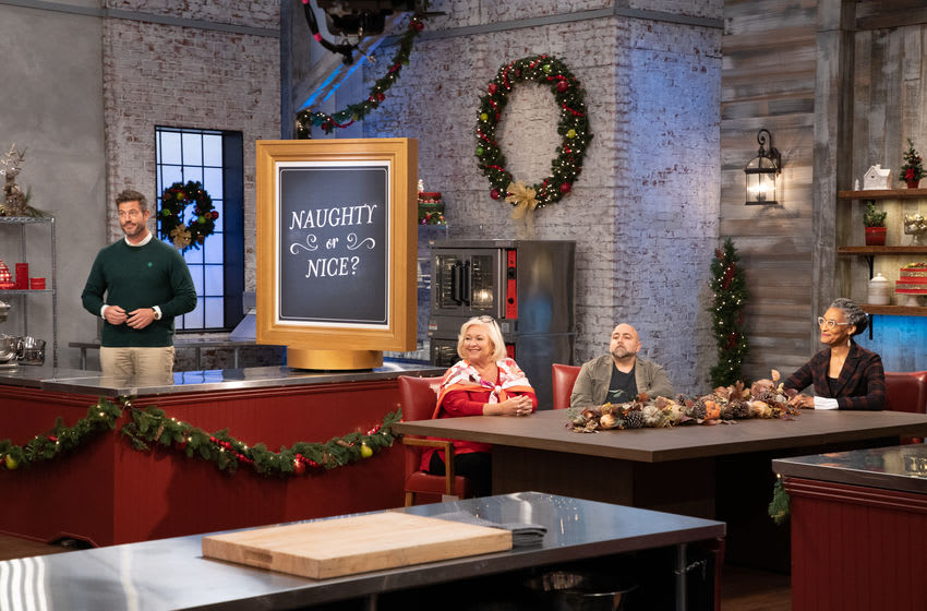 Nancy, Duff, Carla and Jesse at judges table, as seen on Holiday Baking Championship, Season 7. Photo provided by Food Network