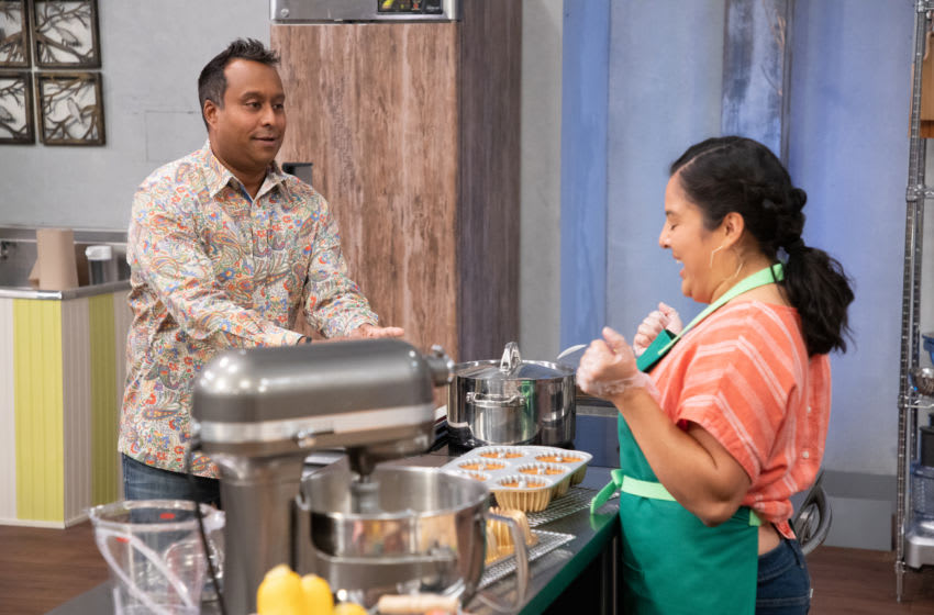 Ali Khan interacting with Veruska, as seen on Spring Baking Championship, Season 7. Photo provided by Food Network