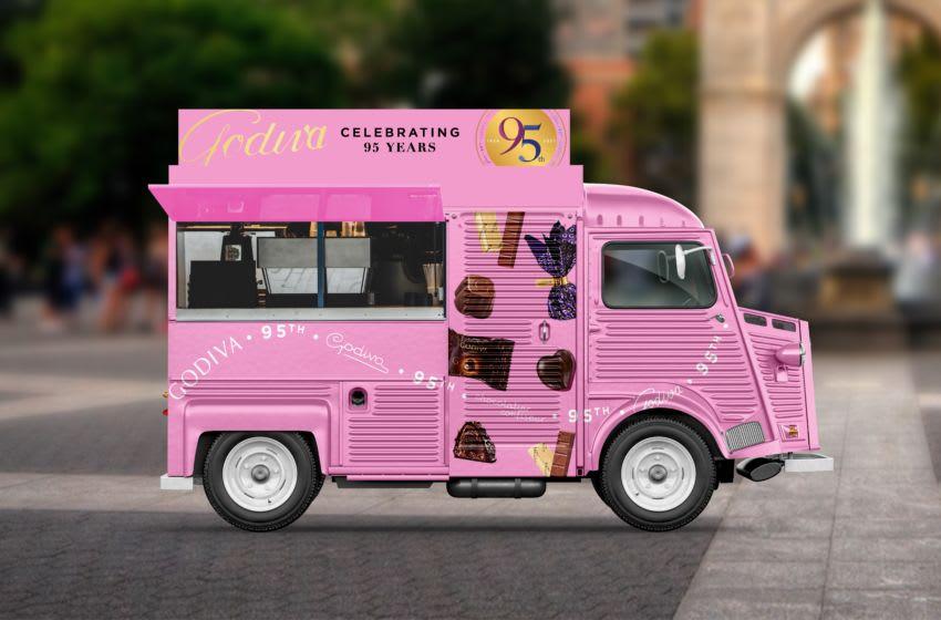 GODIVA pink truck drives around New York City, photo provided by Godiva